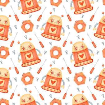 Patrón sin fisuras de dibujos animados lindo robot naranja
