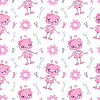 Patrón sin fisuras de dibujos animados lindo robot rosa