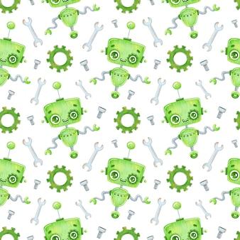 Patrón sin fisuras de dibujos animados lindo robot verde