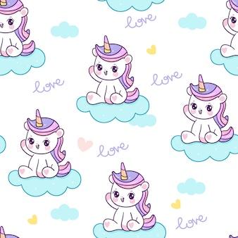 Patrón sin fisuras de dibujos animados lindo unicornio