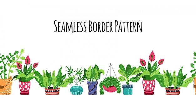 Patrón sin fisuras con dibujos animados en maceta plantas de la casa