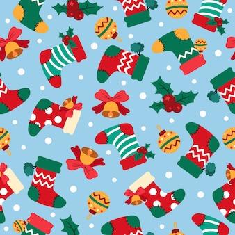 Patrón sin fisuras de dibujos animados de navidad con calcetines