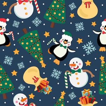 Patrón sin fisuras de dibujos animados de navidad con muñeco de nieve y pingüino