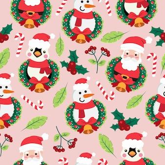 Patrón sin fisuras de dibujos animados de navidad con pingüino y santa claus