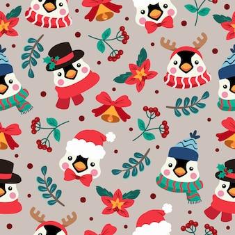 Patrón sin fisuras de dibujos animados de navidad con pingüino