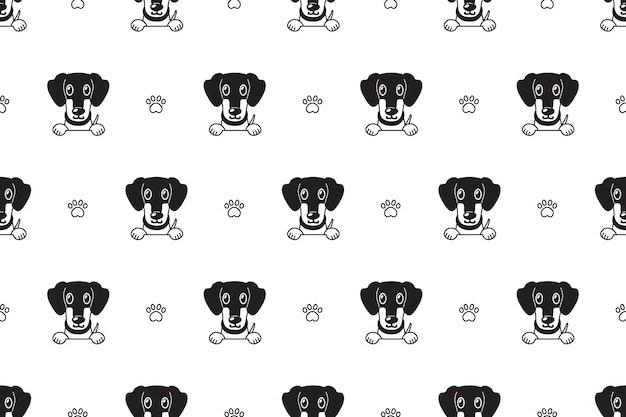 Patrón sin fisuras de dibujos animados personaje perro salchicha perro