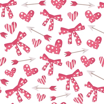 Patrón sin fisuras de dibujos animados de san valentín - corazón y flecha, papel de regalo