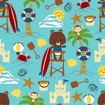 Patrón sin fisuras de dibujos animados de tema de playa con animales