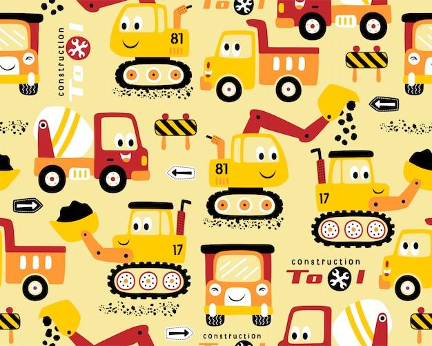Patrón sin fisuras con dibujos animados de vehículos de construcción