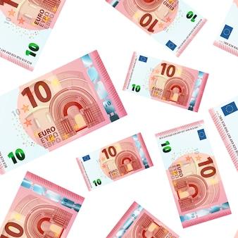Patrón sin fisuras de diez billetes en euros