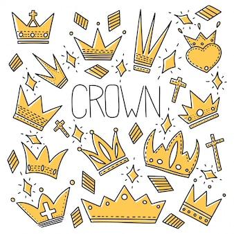 Patrón sin fisuras de diferentes coronas en estilo doodle.