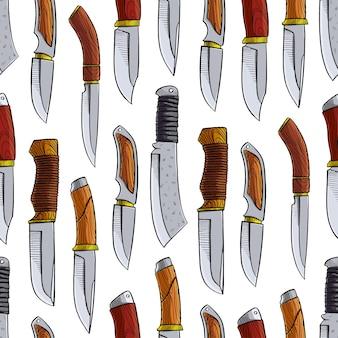 Patrón sin fisuras con diferentes cuchillos de caza. ilustración dibujada a mano