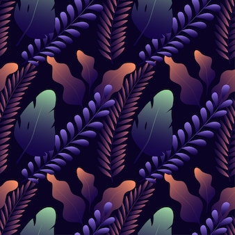 Patrón sin fisuras con diferentes hojas exóticas en azul oscuro
