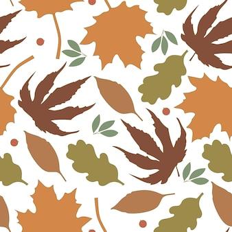 Patrón sin fisuras de diferentes hojas de otoño