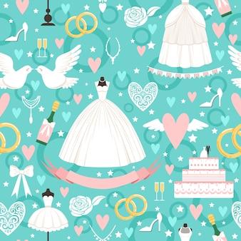 Patrón sin fisuras con diferentes símbolos de boda en estilo de dibujos animados