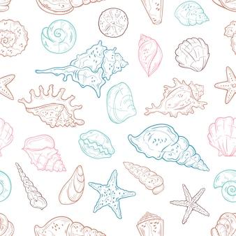 Patrón sin fisuras de diferentes tipos de conchas marinas. papel pintado