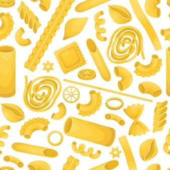 El patrón sin fisuras con diferentes tipos de pasta italiana.