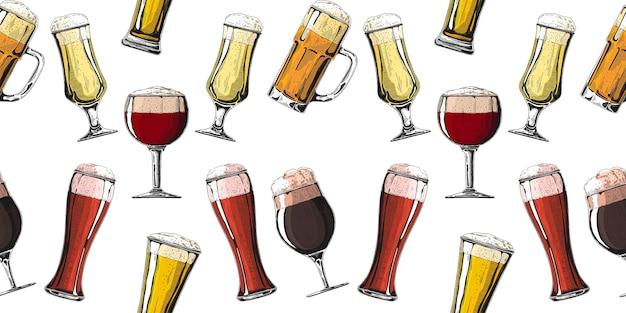 Patrón sin fisuras con diferentes vasos con cerveza, diferentes jarras de cerveza. ilustración de un estilo de dibujo.