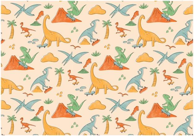 Patrón sin fisuras de dinosaurios patinador
