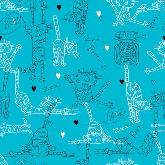 Patrón sin fisuras con la diversión doodle gatos.