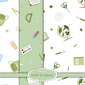 Patrón sin fisuras con diversos útiles escolares sobre un fondo blanco. ilustración de estilo plano.