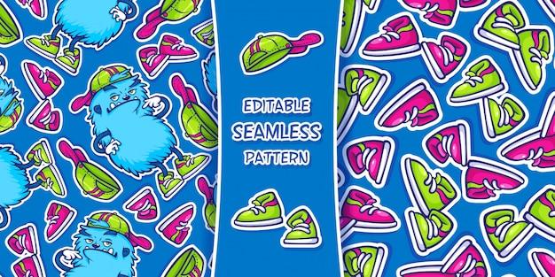 Patrón sin fisuras con una divertida criatura peluda azul y zapatillas.