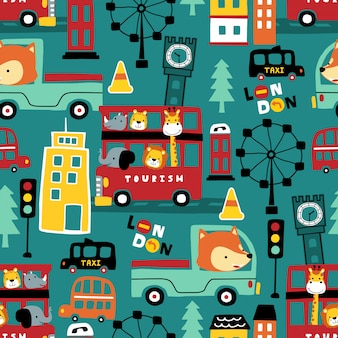 Patrón sin fisuras de divertidos animales de dibujos animados en vehículos