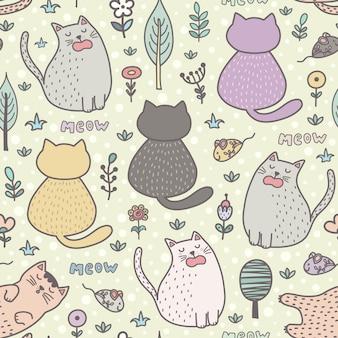 Patrón sin fisuras de divertidos dibujos animados gatos.