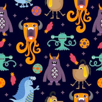 Patrón sin fisuras de divertidos dibujos animados lindo monstruos