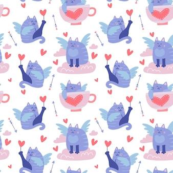 Patrón sin fisuras con divertidos gatos alados, cupidos felinos en las nubes, corazones