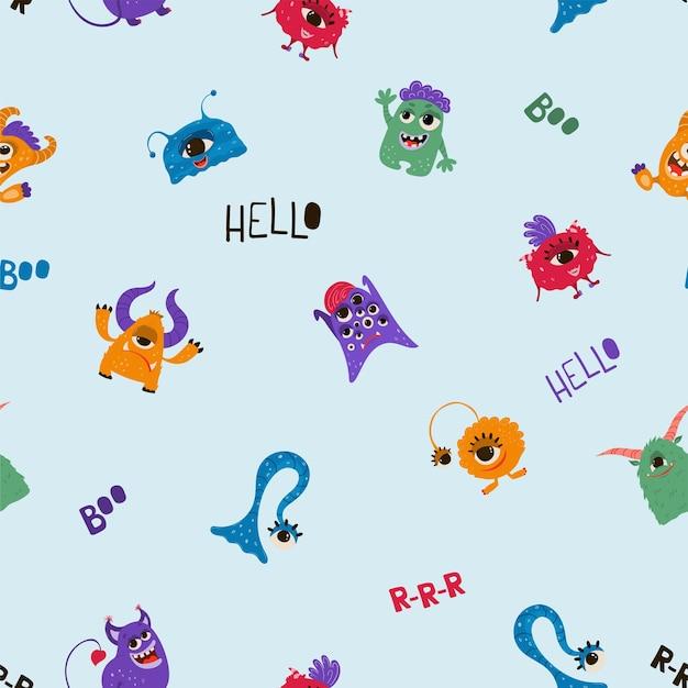 Patrón sin fisuras con divertidos monstruos en estilo de dibujos animados. fondo infantil con personajes lindos para diseño de tela, papel tapiz, papel de regalo. vector