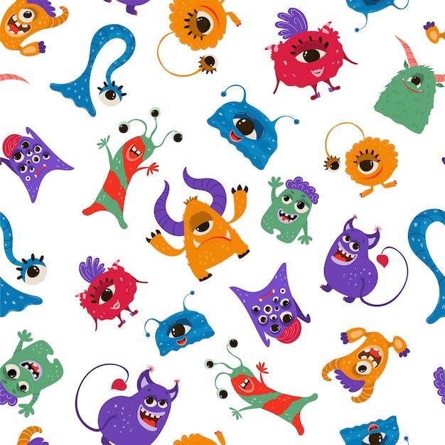 Patrón sin fisuras con divertidos monstruos en estilo de dibujos animados.