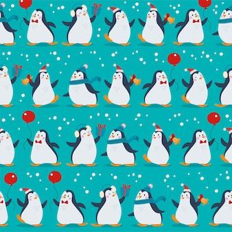 Patrón sin fisuras con divertidos personajes de diferentes pingüinos en sombreros con globos aislados. para tarjetas de navidad, invitaciones, papel de embalaje, etc. ilustración de dibujos animados plano de vector.