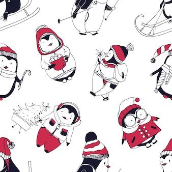 Patrón sin fisuras con divertidos pingüinos bebé vestidos con ropa de abrigo de invierno en blanco