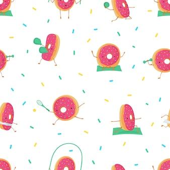 Patrón sin fisuras con donuts lindos divertidos en el deporte.