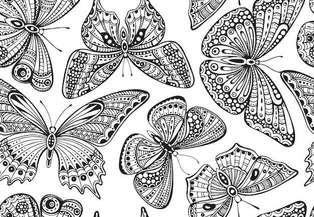 Patrón sin fisuras con doodle adornado dibujado a mano mariposas.