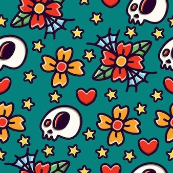 Patrón sin fisuras de doodle cráneo y flor