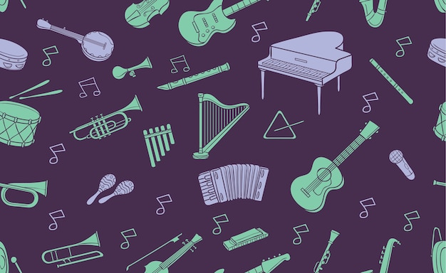 Patrón sin fisuras de doodle instrumento musical en color pastel