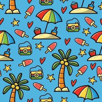 Patrón sin fisuras de doodle de playa de dibujos animados dibujados a mano