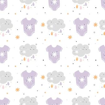 Patrón sin fisuras de la ducha de bebé con estrellas, nubes y ropa de bebé lindo. patrón de niños