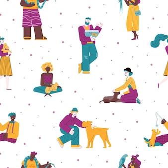 Patrón sin fisuras con dueños de mascotas y dibujos animados de animales