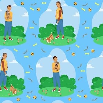 Patrón sin fisuras de dueños de mascotas felices imprimir con perros y juguetes para perros