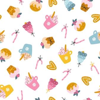 Patrón sin fisuras de dulces navideños. ilustración dibujada a mano de tazas de cacao, muffins, galletas de jengibre