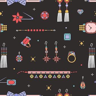 Patrón sin fisuras con elegantes joyas y accesorios caros: pendientes, collar, pulsera, broche, colgante, pajarita