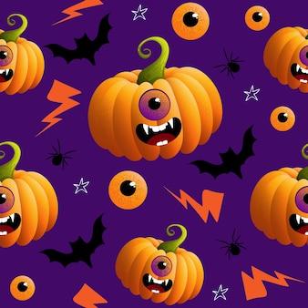 Patrón sin fisuras con elemento de halloweens de doodle dibujado a mano sobre fondo púrpura. tema de halloween.