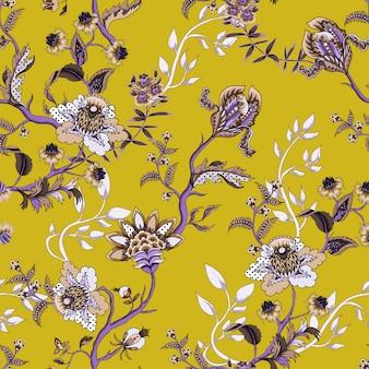Patrón sin fisuras con elementos de adornos étnicos japoneses. folk flores y hojas para imprimir o bordar.