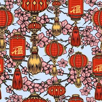Patrón sin fisuras de elementos de año nuevo chino con linternas rojas y ramas de sakura con flores rosadas sobre fondo claro