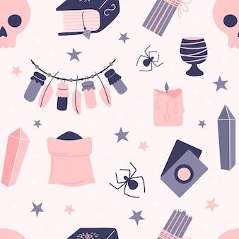 Patrón sin fisuras de elementos de brujería sobre un fondo rosa. atributos de la magia. dibujado a mano