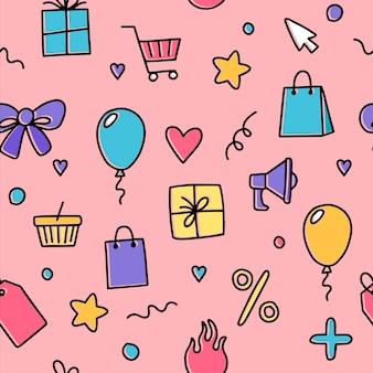 Patrón sin fisuras con elementos de doodle, concepto de compras y descuentos