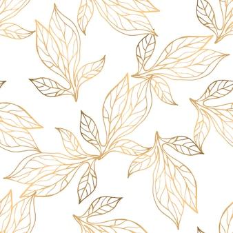 Patrón sin fisuras con elementos florales dorados